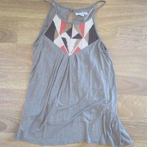 NWOT! American Eagle Taupe Swing Tank Beaded S